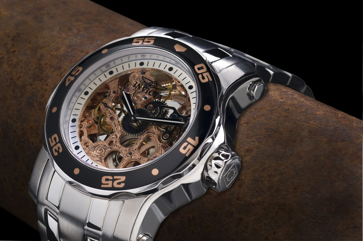 Invicta skeleton watch with copper gears