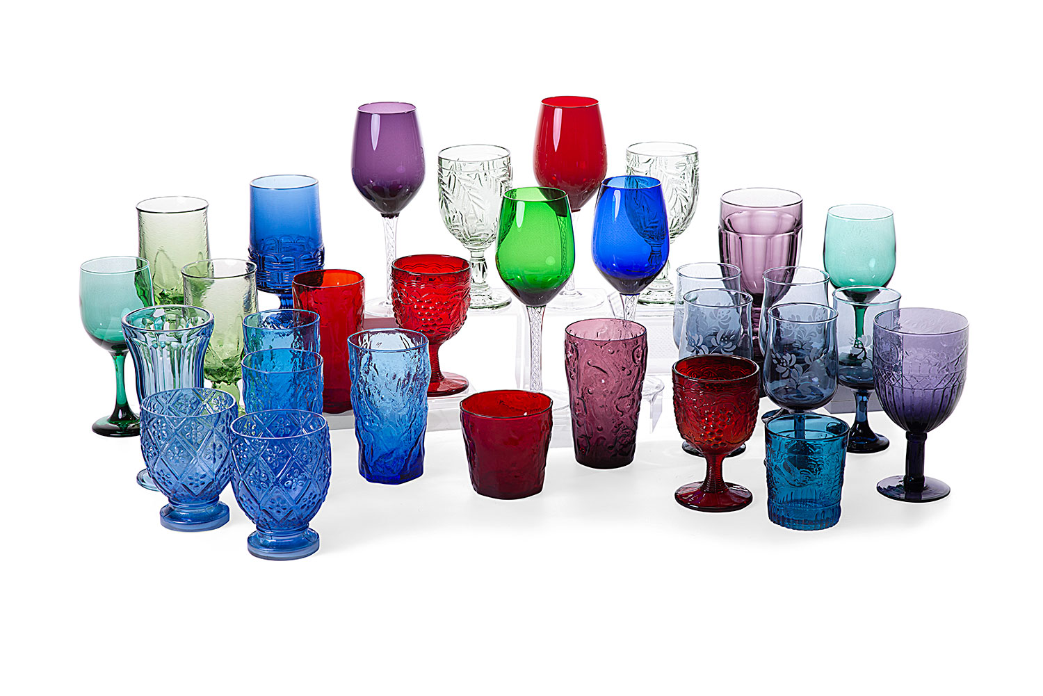 Eclectic set of colored glasses