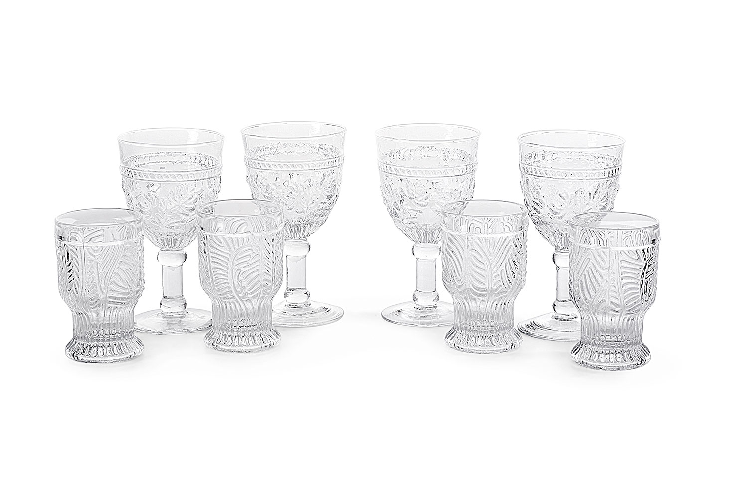 Clear glasses and goblets