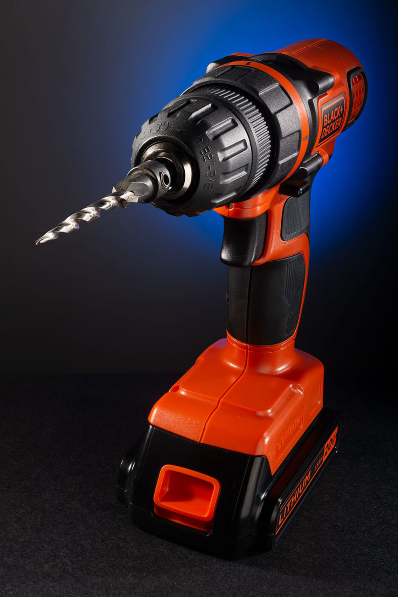 Orange and black Black and Decker lithium powered drill