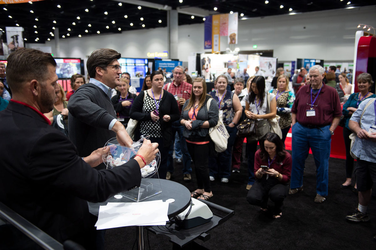 prize drawing at the convention exhibit hall