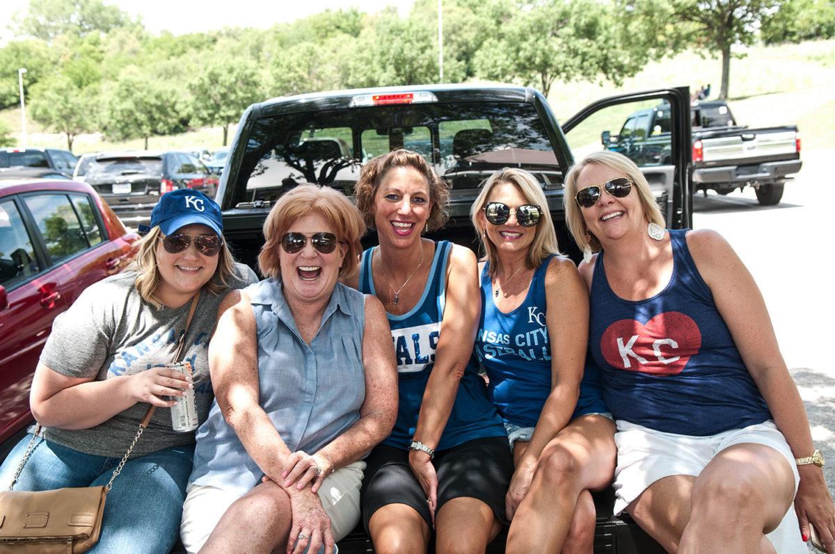 Group of employees at a company outing at a KC Royals baseball game