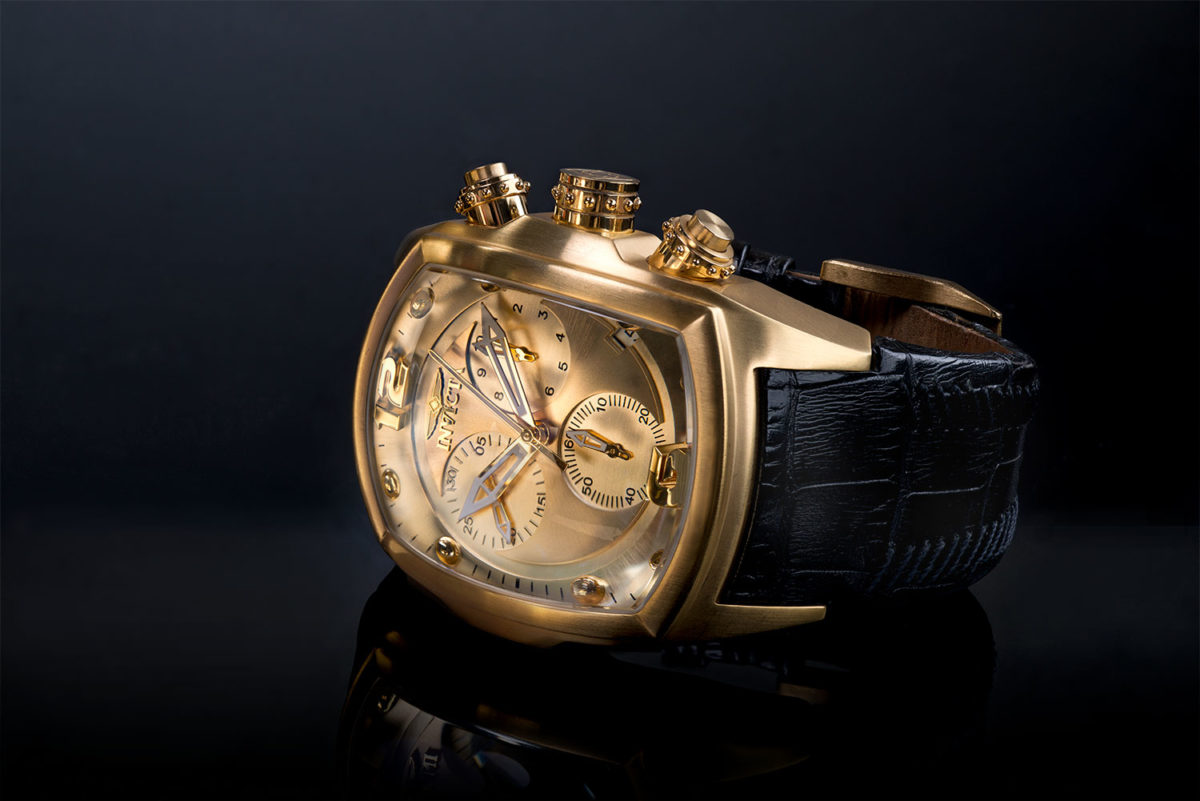 Invicta Mens Gold Watch on a black background