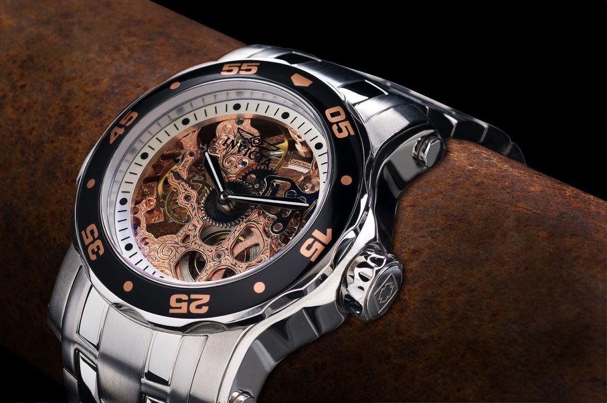 Invicta Copper Skeleton mens watch