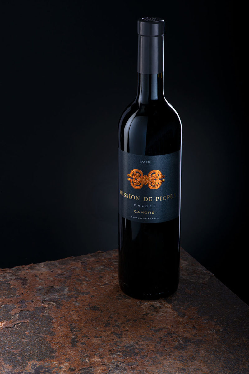 Malbec red wine bottle commercial product photograph