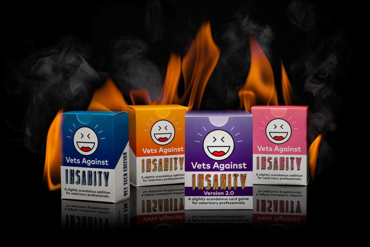 four Vets Against Insanity card games on fire