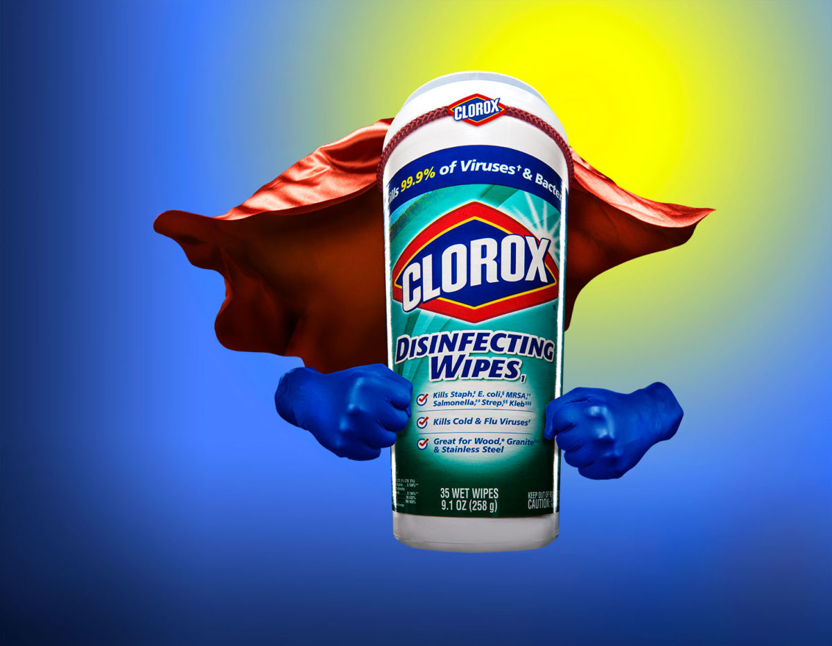 conceptual photograph of Clorox wipes as a super hero with a red cape