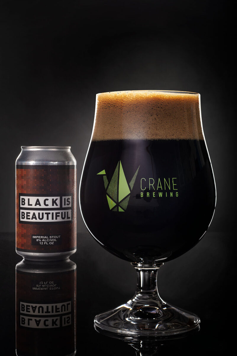 Black is Beautiful stout beer in a tulip glass brewed by Crane Brewing