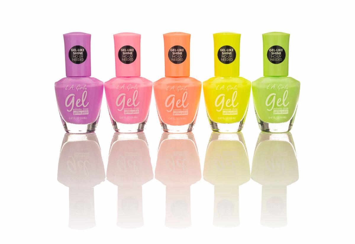 LA Girl neon finger nail gel reflecting onto a shiny white surface