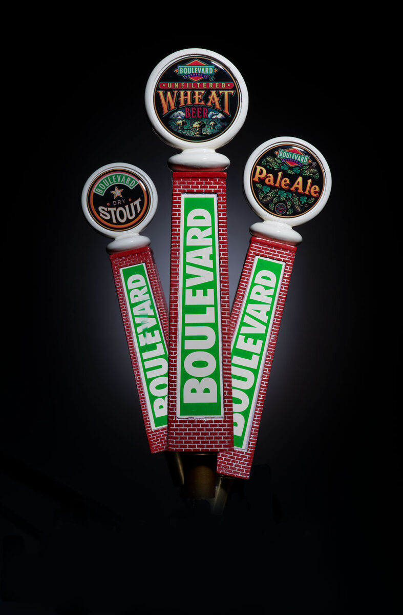 Boulevard Brewing tap handles showing Unfiltered Wheat, Pale Ale and Dry Stout